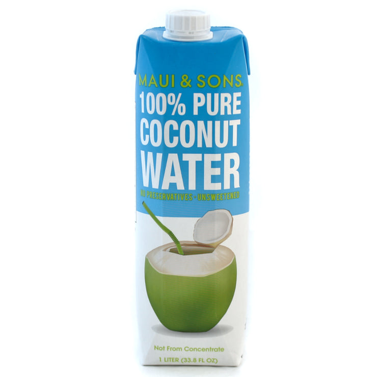 Maui and Sons 100% Pure Coconut Water, 33.8oz packs- 6 or 15 case pack
