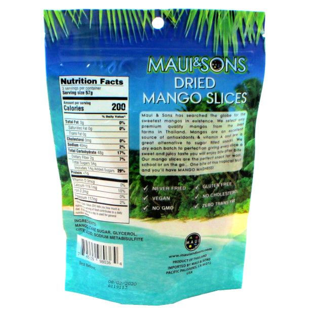 Maui and Sons Dried Mango Slice-6oz packs,6,12, or 27 case pack