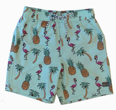 Flamingo Mingle Men's Pool Shorts