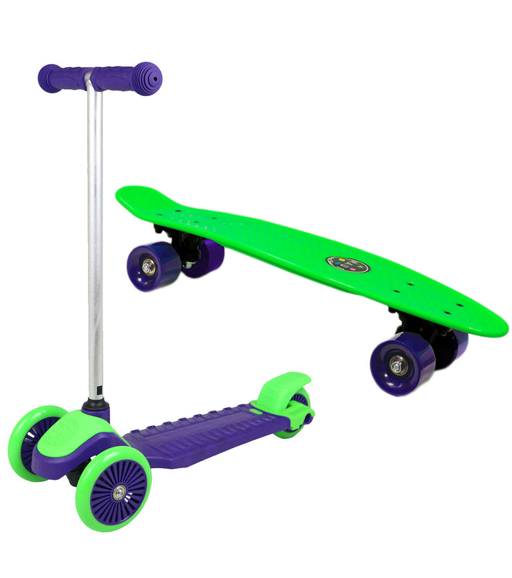 Maui and Sons Kids Scooter and Skateboard Combo Set