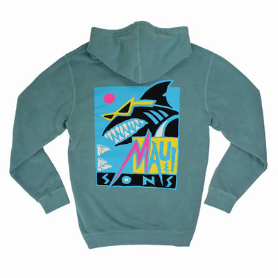 Deco Shark Unisex Midweight Pigment Dyed Pullover Hoodie