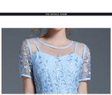 New High Quality Dresses Women Embroidery Short Sleeved Slim A-line Mid-calf Long O-neck