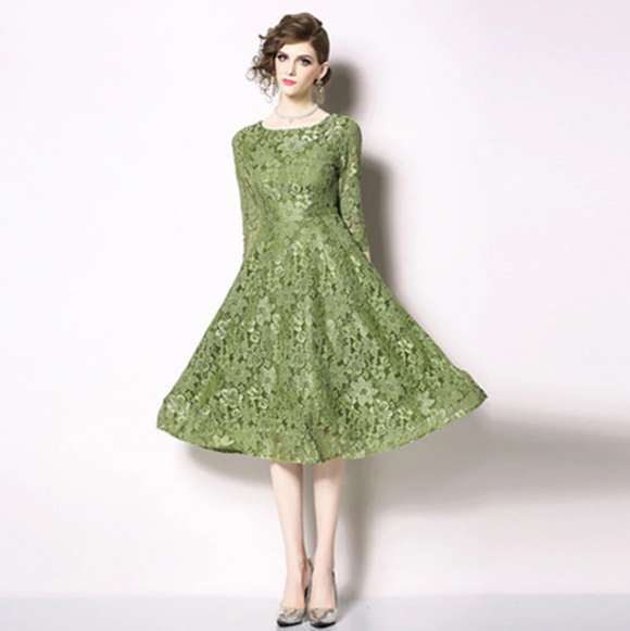 Women Summer Green Dress Crochet Lace Long Party Dresses Bohemian Party Dress
