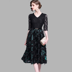 Women Summer Elegant V-Neck Dress High Quality Vintage Designer Long Dress O