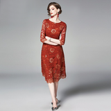 Women Summer Elegant Lace Dress Vintage Designer High Quality  Dress