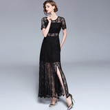 Women Fashion Summer Elegant Slim body con Runway Long Dress Sexy Lace Hollow Out Maxi Dress