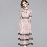 Women Summer Patchwork Lace Party Dress Hollow Out Ladies Fashion Elegant Big Swing Slim Dresses
