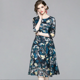Summer Print Lace Dress Casual Slim Fashion O-neck Sexy Hollow Out  A-line Dress