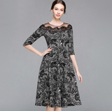 Women Autumn Elegant Hollow out Lace Dress Women Black Half sleeve Vintage Slim Sexy Casual Dress