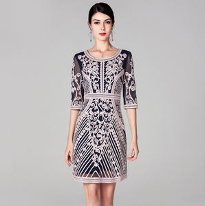 Women Fashion Party Cocktail O-Neck Allover Appliques Embroidery Bodycon Sheath Dress