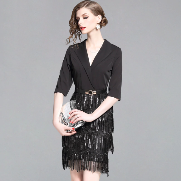 Women Casual Slim Sequin Tassel Sexy Evening Party Dress Women Patchwork A-line Vintage Dress