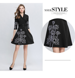 Women's Designer Cute Embroidery Runway A-line Ladies Casual Cocktail party Dress
