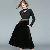 Women Perspective Gauze Patchwork Black Velvet Winter Dress