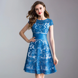 Elegant Women Dresses High Quality Female Allover Embroidery Short Sleeve A-Line Lace Dress