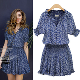 Summer Elegant Dress Woman floral print v neck retro Tunic short sleeve Dresses