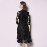Women Elegant Long Black Lace Dress Female High Quality Vintage Designer Office Party Dress