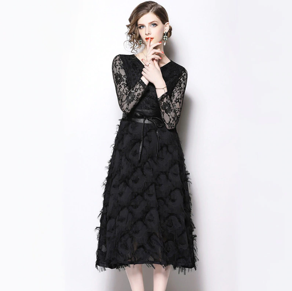 Women Elegant Black Lace Mesh Dress High Quality Vintage Fashion Casual Office Party Dress