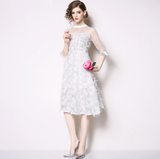Women Elegant White Mesh Dress Female Fashion Designer Party Vintage Lace Dress