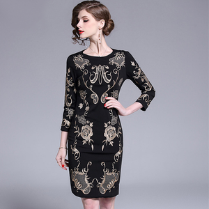 Women Luxury Golden Embroidery Pencil Dress High Quality Vintage Designer Dress