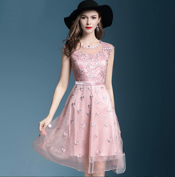Woman Dress Runway Floral Beading Embroidered Short Sleeve Vintage Mesh Dresses