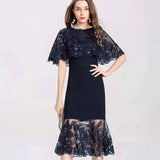 Women Cape Dress Party Sexy Mermaid Dress Sequined Embroidery Bandage Midi Dress