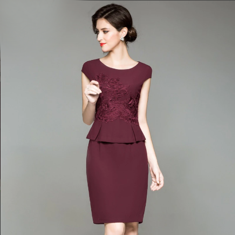 High Quality Women Business Elegant Dresses  Embroidery Green Pencil Dress
