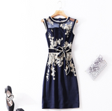 High Quality Women Cocktail Dress Mesh Embroidery Patchwork Sleeveless Body-con Dress