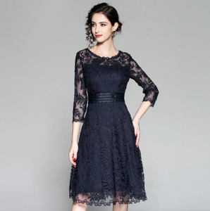 Women Dress  Fashion Cocktail  O-Neck Exquisite Allover Embroidery Mesh Dress