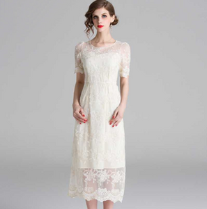 Women Summer Fashion Runway Casual Dress O Neck Hollow out Embroidered Solid Elegant White Dress