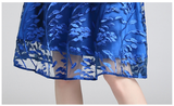 Women High Quality Mesh Embroidery Flowers Runway Dress Casua Mid-calf Party Sundress