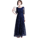 Women Embroidery Mesh Long Evening Party Dresses Special Occasion High Waist Dress
