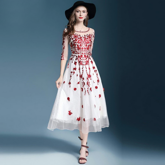 Women Summer Embroidery Dresses for Wedding Party 3/4 Sleeve Special Occasion Lace Dress