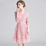 Women Summer Elegant Lace Dress High Quality Vintage Designer Pink Short Robe