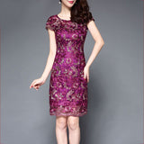 Women Vintage Elegant Dress New Lace Embroidered Flower Loose Dress