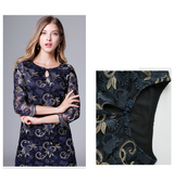 Women Elegant Blue Embroidery Mesh Lace Midi Dress Vintage  Dresses