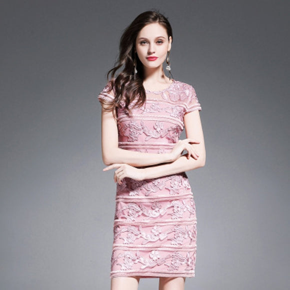 Women Dress New  Elegant O-Neck Flower Lace Dress Vintage Embroidery  Dress