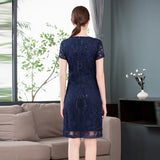 Women Hollow Out Embroidery Dress O-Neck Allover Applique Embroidery Short Sleeve Dress