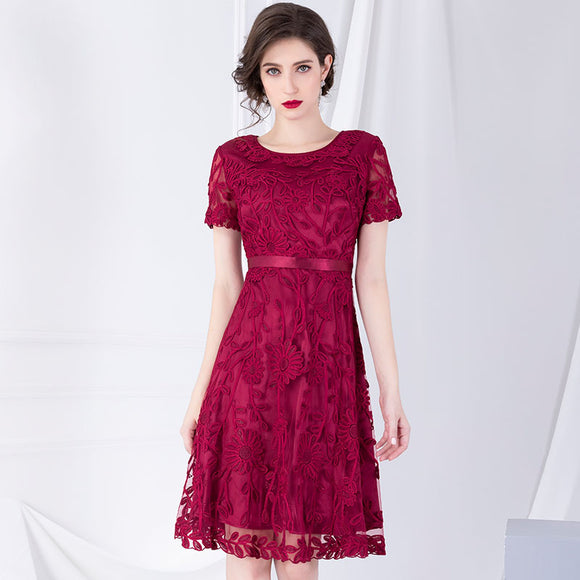 Embroidery Party Dress A Line New Sexy Solid Dress  Women Vintage Short-Sleeved Summer dress