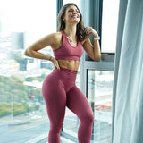 Women Seamless Fitness Set High Waist Tummy Control  Tracksuit Super Elastic Ladies 2 Piece Set