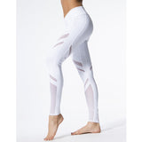 Women High Waist Fitness Yoga Leggings Stretch Pants Skinny Mesh Patchwork White Running Leggings