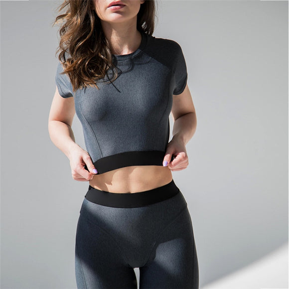 Women's Fitness Suits Cropped Top And Legging 2 Pieces Set  Workout Pants Tracksuit