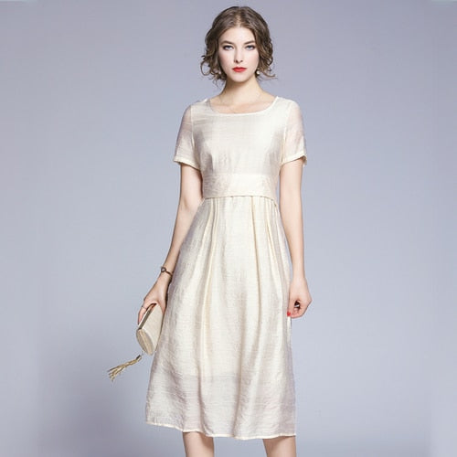 Women Dress O-Neck Short Sleeve Beige Dress With Drawstring Sash Casual Sweet Calf Length Dress