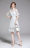 New Arrival Mesh Dresses Women 2-piece Slim A-line Fashion Embroidery Dress