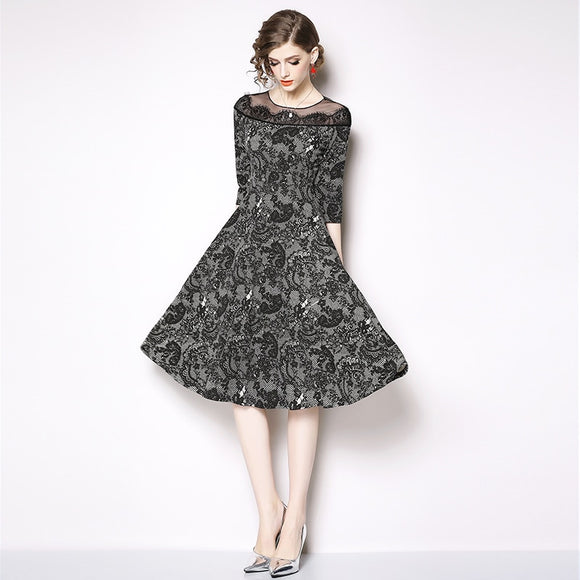 Women Lace Dress Hollow Out Floral Crochet Casual Dress
