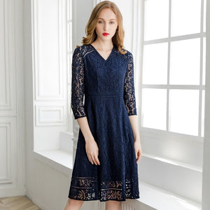 Women High Quality Lace Dress V-Neck Allover Lace Crochet Elegant Party Blue Green Lace Dress