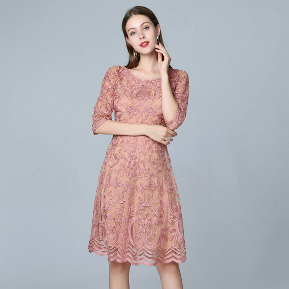 Women Dress Summer Fashion Turn-down Collar Luxurious Embroidery Short Sleeve Mid-Calf  Dress