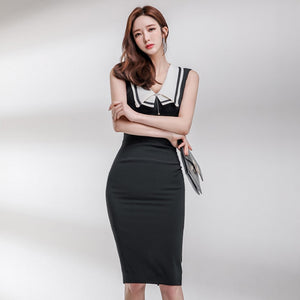 Women comfortable Elegant Sleeveless Patchwork Dress Sexy Vintage Temperamental Classical Dress