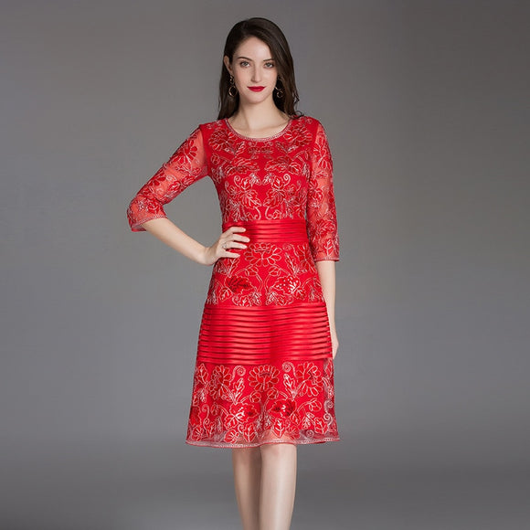 New Women Flower Embroidery Dress  A Line  Vintage Summer Dress
