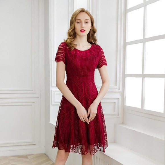 New Women Summer Elegant Dress A Line Short Sleeve Embroidery dress