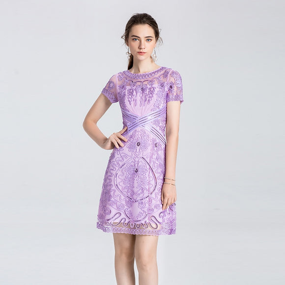 NEW Women High Quality Embroidery flower Dress A-line Clothing Vintage Party Plus Size Dress